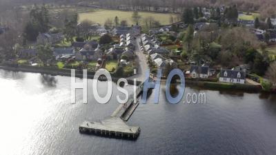 Tourist Village Of Luss On Loch Lomond, Scotland - Video Drone Footage