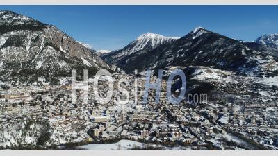City Of Briançon In Winter, Hautes-Alpes France, Filmed By Drone