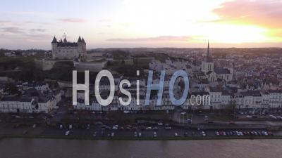 City And Chateau De Saumur - Video Drone Footage