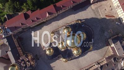 New Athos Monastery Aerial View Top View - Video Drone Footage