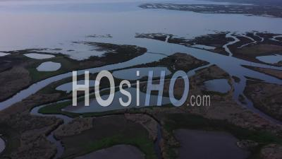 Aerial View Arcachon Basin, Audenge And Biganos, The Delta Of The River Eyre At High Tide - Video Drone Footage