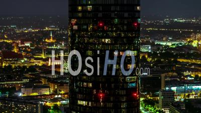 Sky Tower, Old Town, Stare Miasto, Ostrow Tumski, Wroclaw By Night - Video Drone Footage