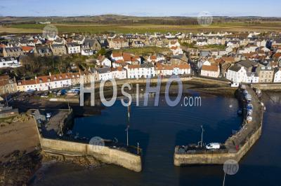 Aerial View From Drone Of St Monans Fishing Village In The East Neuk Of Fife, Scotland, Uk