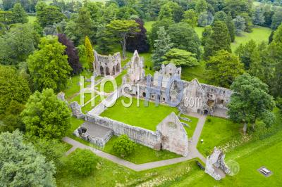 Aerial View Of Ruin Of Dryburgh Abbey In Dryburgh , Scottish Borders, Scotland Uk - Aerial Photography