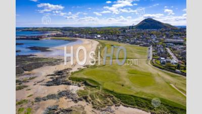 Aerial View Of North Berwick Beach And North Berwick Golf Club, East Lothian, Scotland, Uk - Aerial Photography