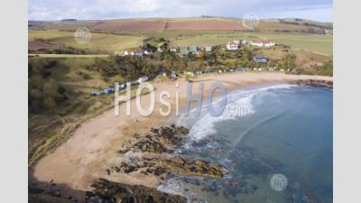 Aerial View Of Beach At Coldingham Bay In Scottish Borders, Scotland, United Kingdom - Aerial Photography