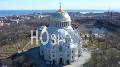 Kronstadt Naval Cathedral Long Shot Aerial View - Video Drone Footage