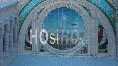 Kronstadt Naval Cathedral View Of Mosaics And Stained Glass Windows. Raising The Camera To The Top - Video Drone Footage