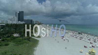 Plage Miami Beach, South Beach - Vidéo Prise Par Drone