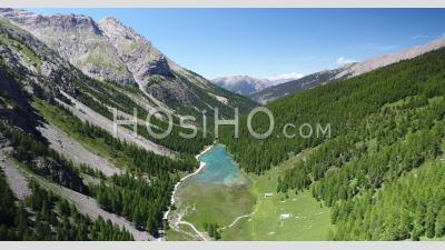 Lac De L'orceyrette In Brianconnais, Hautes-Alpes, France, Viewed From Drone