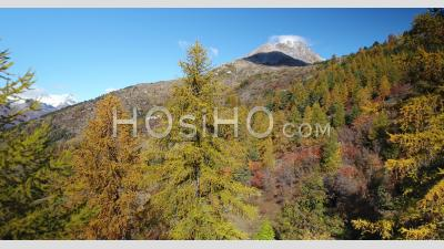 Autumn In The Serre Chevalier Valley, In Brianconnais, Hautes-Alpes, France, Viewed From Drone