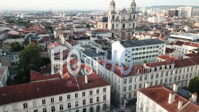 Place D Alliance And Cathedral Notre Dame De L Annonciation - Nancy - Video Drone Footage