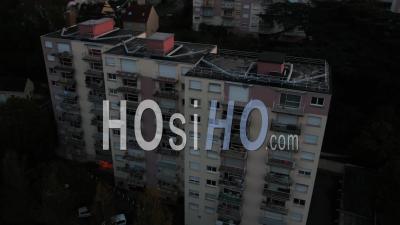 Suburb Corbeil-Essonnes Buildings Sunset - Video Drone Footage
