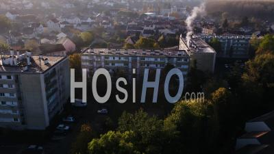 Suburb Corbeil-Essonnes Buildings And Houses Sunrise - Video Drone Footage