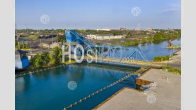 Bascule Bridge Over Rouge River - Aerial Photography