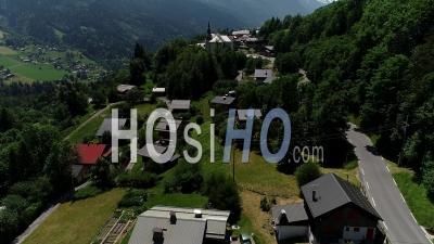 Aint Nicolas De Veroce Village And It's Church - Video Drone Footage