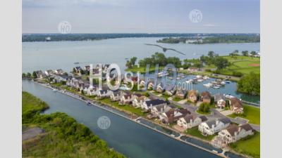 Exclusive Waterfront Community In Detroit - Aerial Photography