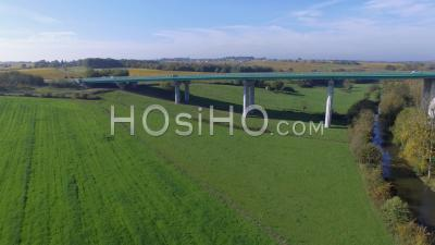 Aerial View Of The Viaduct Of Layon At Beaulieu Sur Layon, Aerial Video Drone Footage