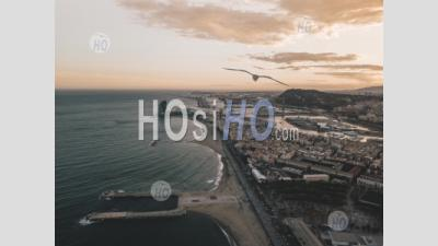 Aerial View Of Barcelona, Spain With Harbor And Skyline At Beautiful Sunset With Ocean View Hq - Aerial Photography