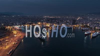 Establishing Aerial View Shot Of Athens, Port Of Piraeus, Greece - Video Drone Footage