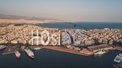 Establishing Aerial View Shot Of Athens, Port Of Piraeus, Late Afternoon, Greece - Video Drone Footage