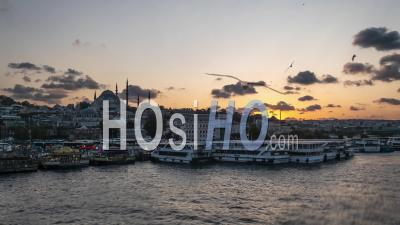 Istanbul Bosphorus Riverside With Boats And Mosque Silhouette Beautiful Sunset Time Lapse - Video Drone Footage