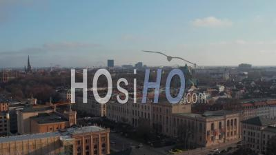 Towards St. Lukas Church Cathedral With Green Roof Towers In Beautiful Munich, Germany, Aerial Dolly In - Video Drone Footage