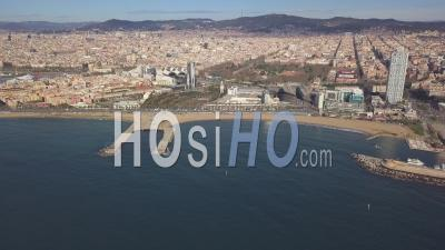 Aerial Over Barcelona Beach, Blue Sky, Summer, Sunny 4k - Video Drone Footage