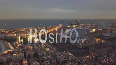 Aerial Towards Barcelona Coast,Beach,Harbour At Sunset, Summer, Sunny 4k - Video Drone Footage