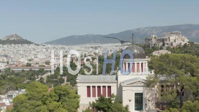 Aerial View Of National Observatory Of Athens With Acropolis And Mount Lycabettus In The Background 4k - Video Drone Footage