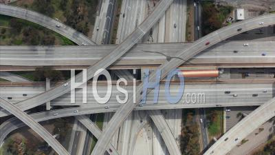 Spectacular Overhead Follow Shot Of Judge Pregerson Highway Showing Multiple Roads, Bridges, Viaducts With Little Car Traffic In Los Angeles, California On Beautiful Sunny Day 4k - Video Drone Footage