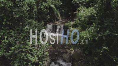 Tropical Forest And Waterfall In Martinique - Video Drone Footage