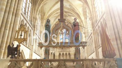 Interior Of The Basilica Notre-Dame De L'epine, France, Drone Point Of View