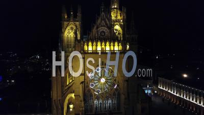 Illuminated Stained Glass For Christmas - Cathedral Saint-Etienne - Metz - Video Drone Footage