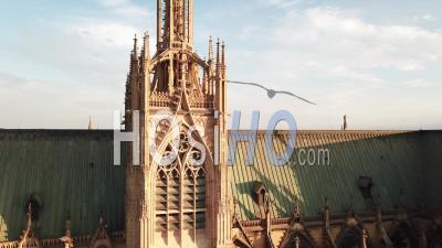 On The Roofs Of Cathedral Saint-Etienne - Metz - Video Drone Footage