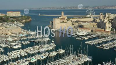 Vieux-Port In Marseille City At Day 17 Of Covid-19 Outbreak, France - Photo Drone