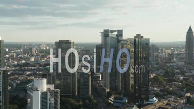 Aerial View Breathtaking View Of Frankfurt Am Main Skyline Reflecting In Summer Sunlight In June 2020 - Video Drone Footage