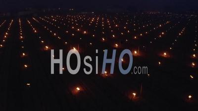 Aerial View Of Burning Candles In The Bordeaux Vineyard During A Period Of Freezing - Video Drone Footage