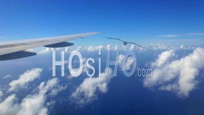 Moving Clouds Filmed From Aircraft Window In The Caribbean