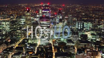 Elevated Timelapse Of A Financial District Of London At Night, London, England.