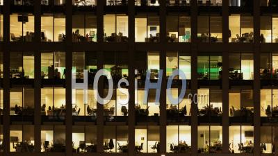 Night To Day Timelapse Of The Exterior Of An Office Block At Night