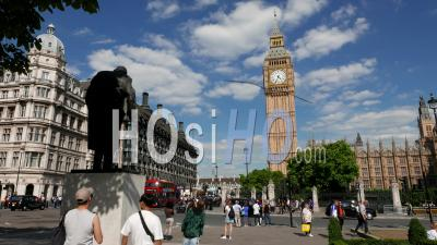 Tower Of Big Ben And Houses Of Parliament In London