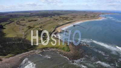 Kingsbarns Golf Links Golf Course In Scotland, Uk - Video Drone Footage
