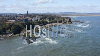 St Andrews In Fife, Scotland, Uk - Video Drone Footage