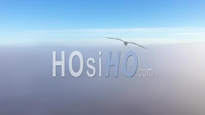 Vue Brumeuse Du Drone S'élevant Au-Dessus Des Nuages. Prise De Vue Aérienne