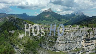 Fort Saint-Eynard Overlooking The City Of Grenoble, France, Drone Point Of View