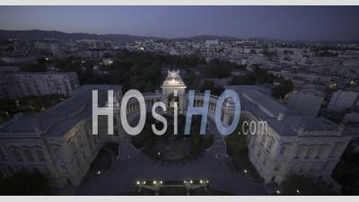 Palais Longchamps, Marseille At Sunset In Video 6k - Video Drone Footage