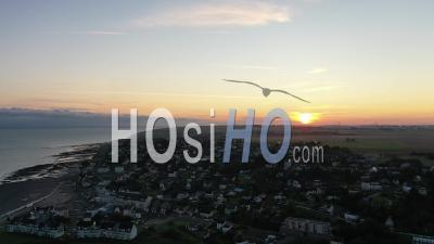 Sunrise Over The City Of Criel-Sur-Mer - Video Drone Footage