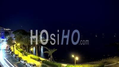 Timelapse During The Night On The Bay Of Antibes, French Riviera