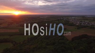 Coteaux Du Layon At Dusk - Video Drone Footage